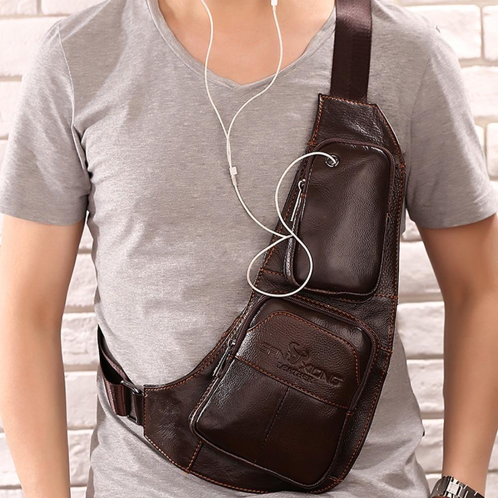 Lëkurë origjinale për burra lëkure burrash Sling Shoulder Cross - Çanta dore - Foto 3