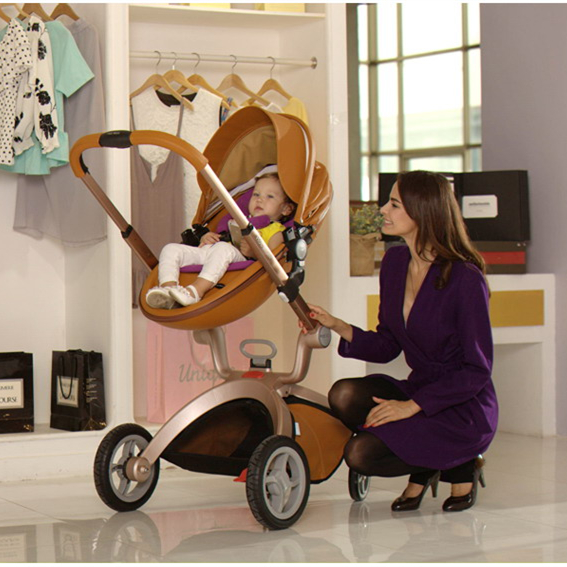Hot Mom New Arrival Leather Baby Stroller Car Four Wheels Egg Shape Pram Trolley Brown Not Included Sleeping Binet In From