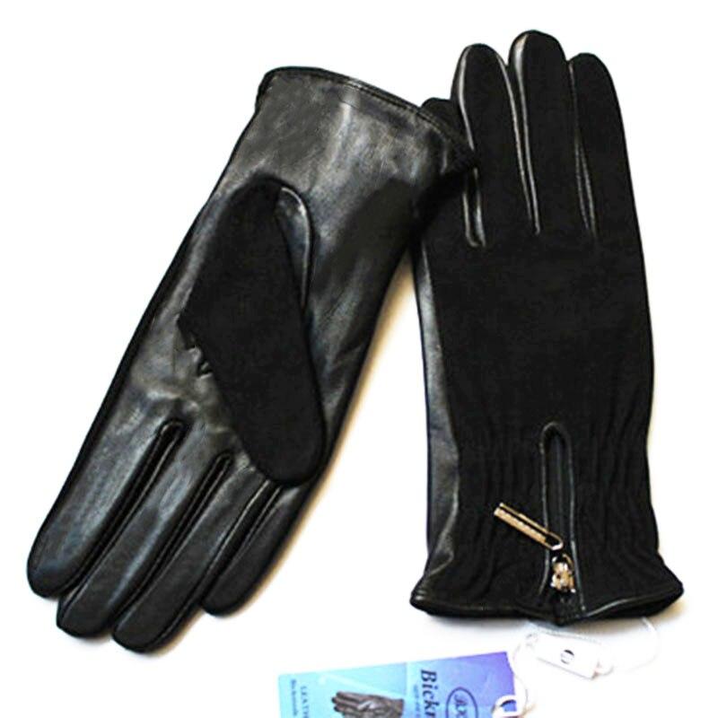 Image 2 - Sheepskin gloves women thickening autumn and winter warm new suede gloves fashion zipper style leather finger glovesWomens Gloves   -