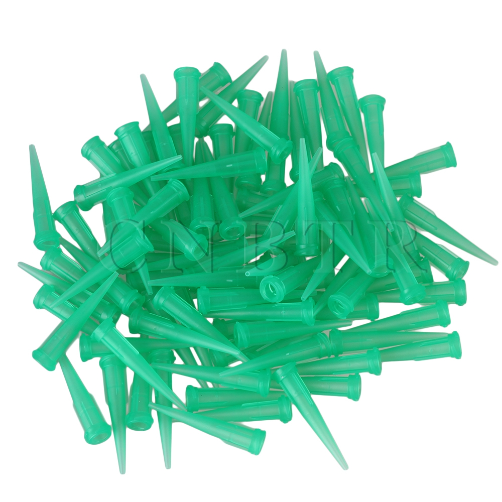 CNBTR 100pcs 18Ga TT Glue Liquid Green Industrial Dispensing Blunt Needle Plastic Tapered Tip цены