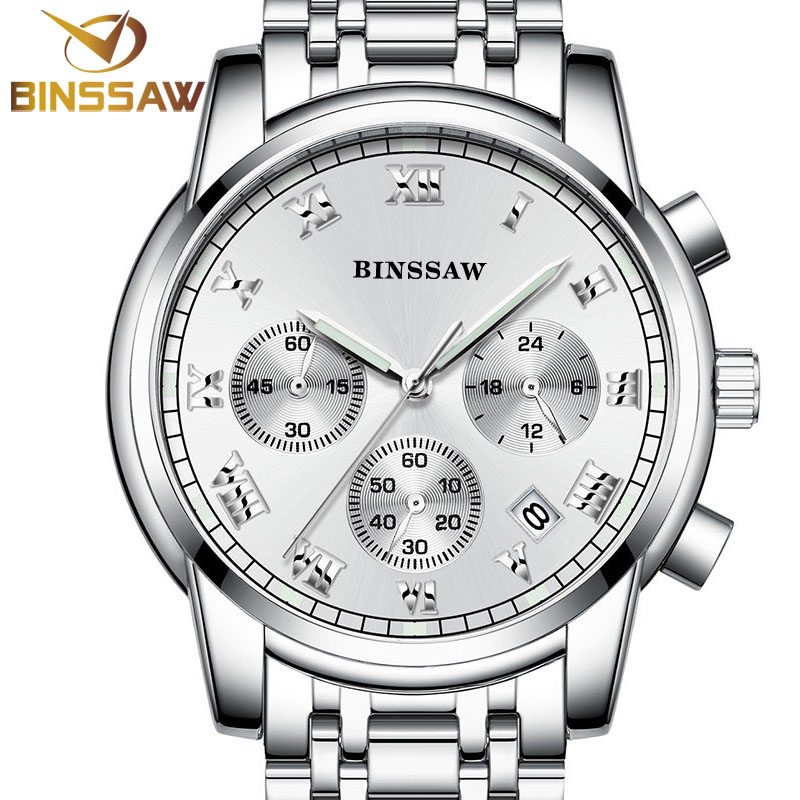 BINSSAW heren quartzhorloges mode-business kijken lichtgevende timing - Herenhorloges - Foto 1