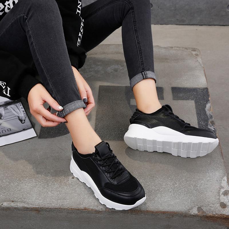 Femmes Noires Cuir Chaussures Top Dame Pu Sneaker Respirant Chaussure Mode En blanc High Femelle 2019 De Fille Printemps Noir bleu qEw7Zt1w