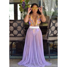 2019 New Summer Elegant Fashion Solid Skirts Women Sexy Sheer Mesh Pleated Lady Chic Party Beach Casual Long Maxi Skirt