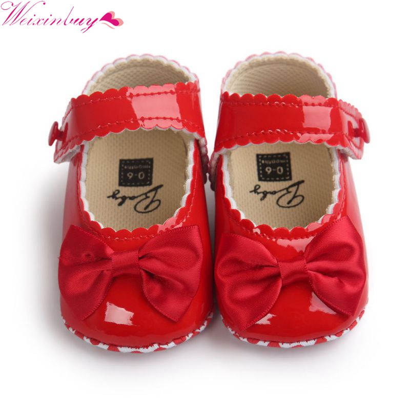 Infant Baby Boy Soft Sole PU Leather First Walkers Bebe Crib Bow Shoes Moccasins Shoes 0-18 Months