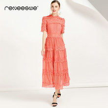 2019 hollow out women dress A line ruffles short sleeve solid white sweet ladies maxi dresses summer party long vestidos