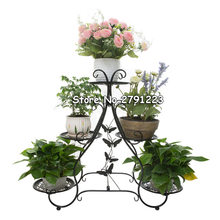Classic Plant Stand, Metal Flower Herbs Holder Garden Patio Shelves for Plant Flower pot rack Display stand Indoor and Outdoor(China)