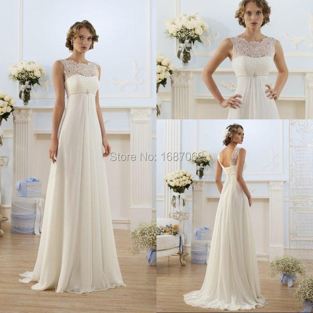 Lace Up Cheap Beach Plus Size Empire Waist Wedding Dresses Ivory ...