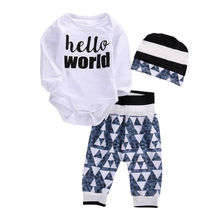 Newborn Baby Boy Girl Romper Tops Long Pants Hat 3PCS Outfits Set autumn cute Clothes hello world printed high quality