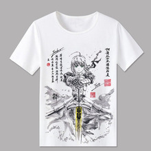 2018 Fate grand order T Shirt Men Funny Short Sleeve fgo T-shirt Fate Apocrypha saber Cosplay Tshirt Anime New Tops