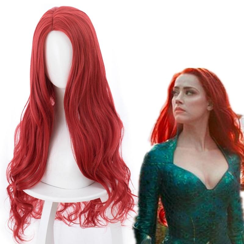 Mera Cosplay Movie Synthetic-Hair Aquaman Party Women 85cm Wig Wig-Cap Curly Heat-Resistant