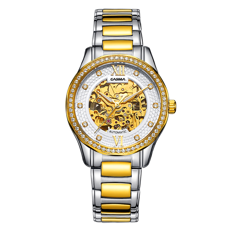 New Skeleton Fashion Watches Men Luxury Brand Gold Golden Wristwatch Business Automatic Mechanical watch Relogio Masculino 2016 new gold watches winner luxury brand men s fashion automatic hollow out man mechanical watches waches relogio masculino