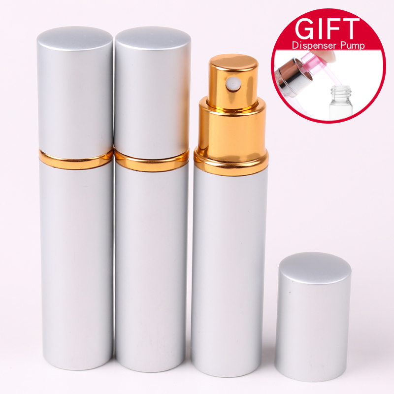 10Pieces/Lot Classic Silver 15ml Aluminum Refillable Portable Perfume Bottle With Atomizer&Empty Parfum Cosmetic Case For Travle