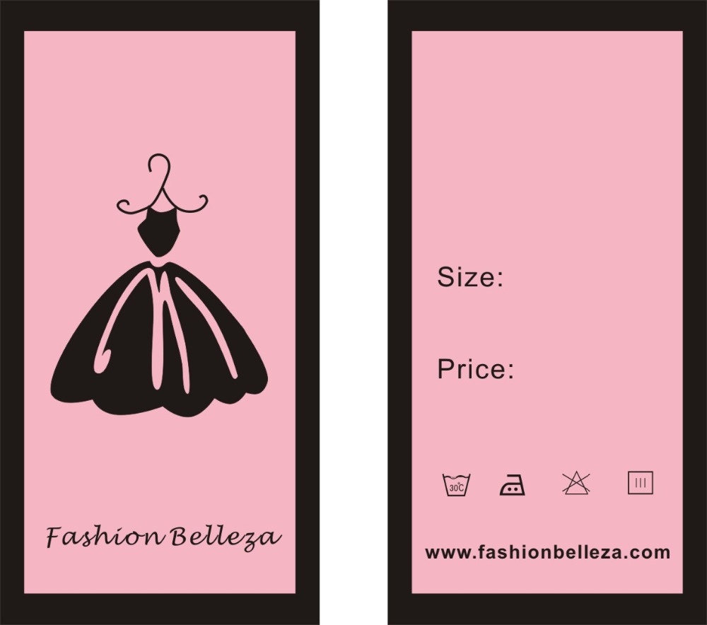 personality design Custom garment Printed Price Tags