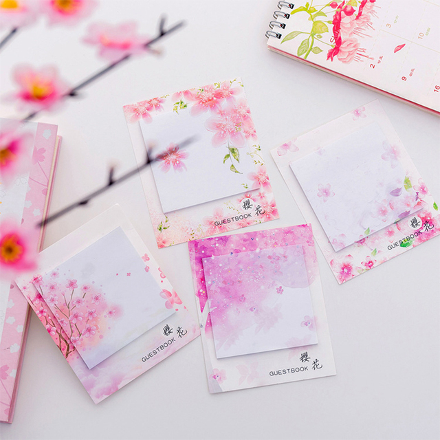 Cute Kawaii Cherry blossoms Memo Pad Sticky Notes Stationery Sticker Posted It Planner Stickers Notepads Office School Supplies 3
