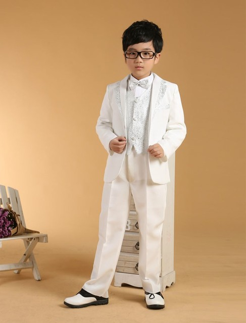 Top Quality 3 Pieces White Boys Wedding Suits For Children Kid ...