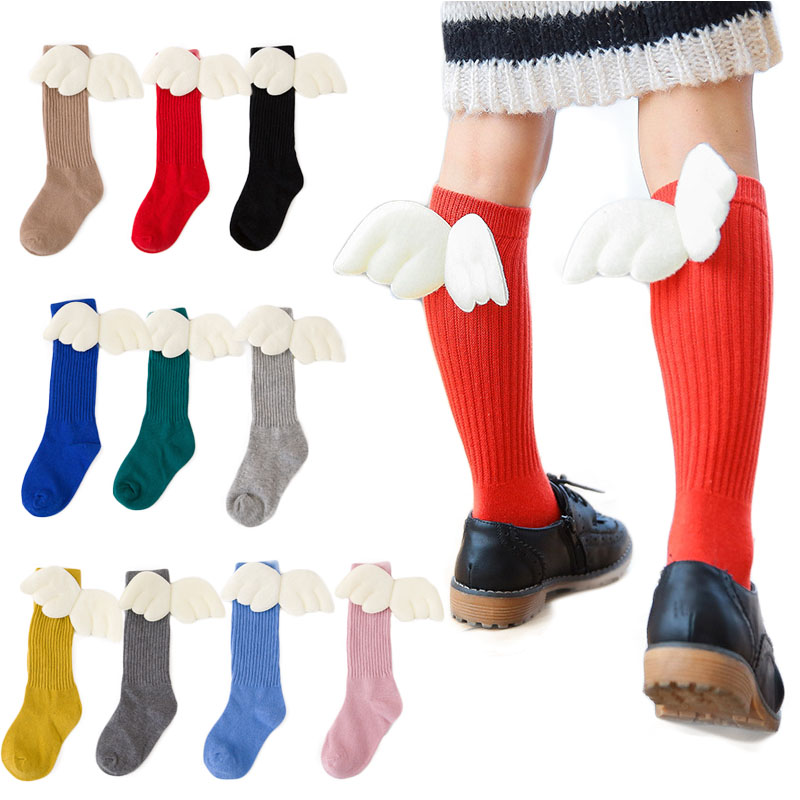 Autumn Winter New Style Children Socks White Wings Design Knee High Cotton Socks Boys Girls 1-10 Years Old Kids Sock