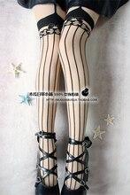 Принцесса сладкий лолита колготки классическая молния HARAJUKU сексуальная с бантом чулки колготки леггинсы одеваться отшлепать черный полосатый