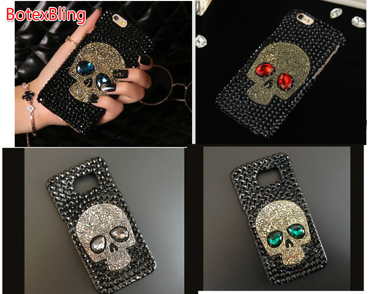 BotexBling luxury glitter large stone skull PC case for samusng galaxy S6 edge plus s7 s5 s4 s3 note5 N4 N3 A5 A7 S8 J5 J3 J7 A8 ...