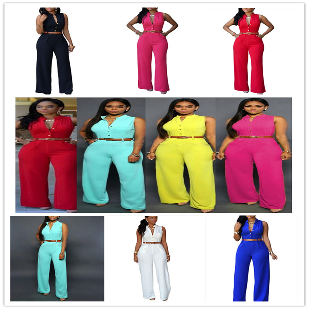 Plus Size Solid Casual Sexy Sleeveness   Jumpsuits   2019 New Arrival Women Summer Fashion Slim Elegant Long Rompers Female XXL