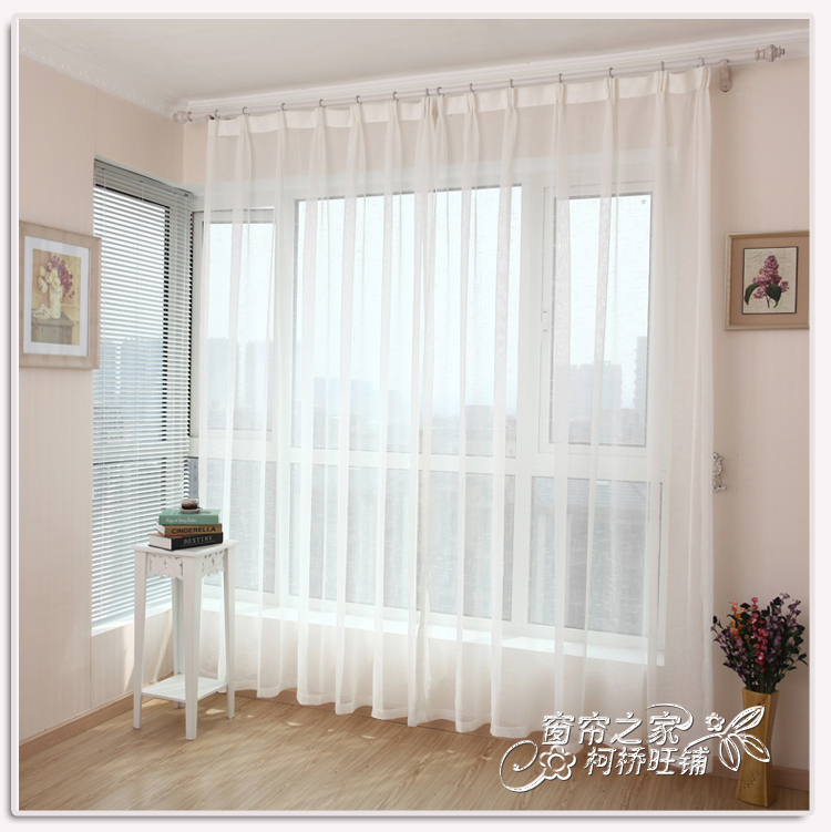 Curtain solid color small cross white grid cloth tulle finished living room sheer curtain modern brief wire