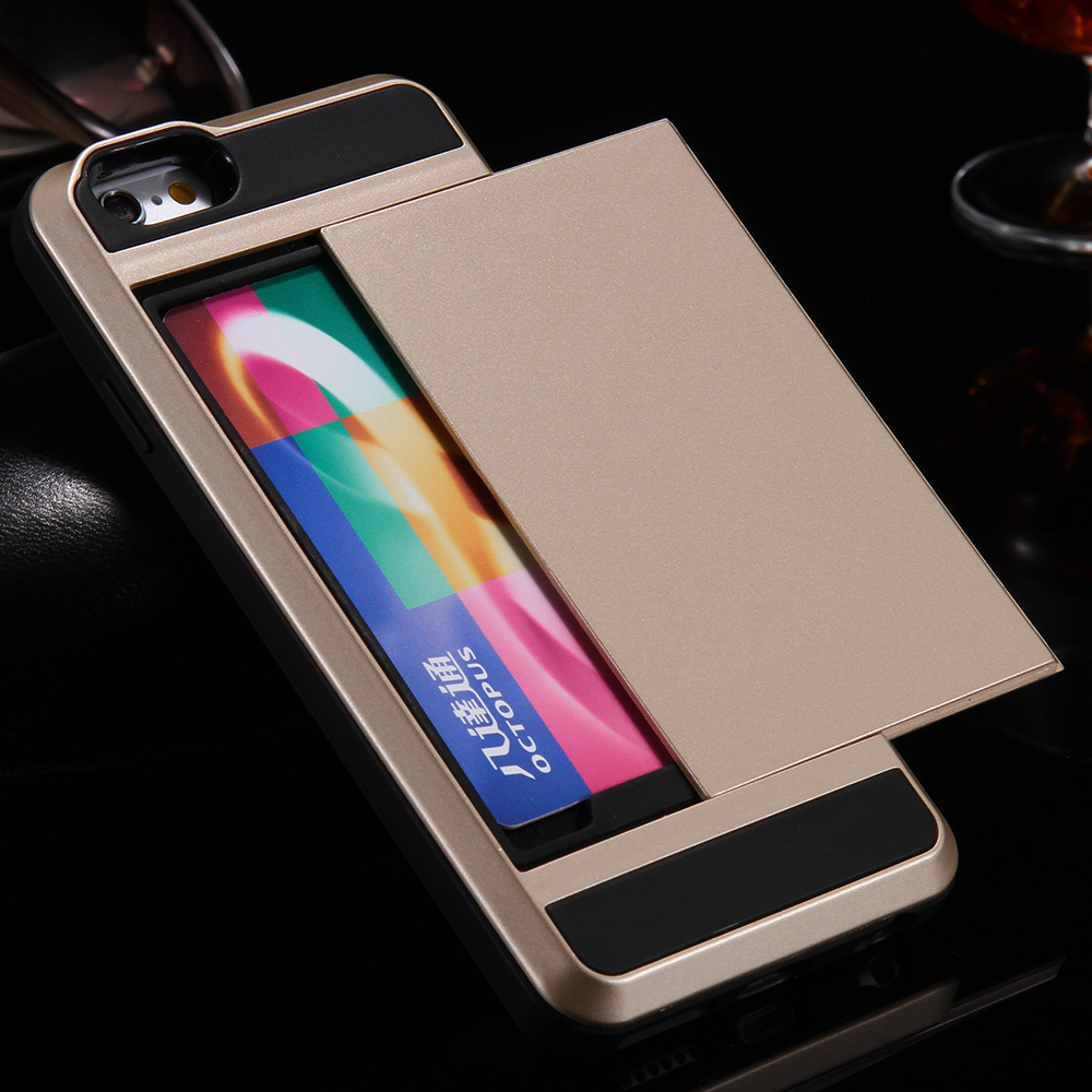FLOVEME Card Holder Case For IPhone 6 6S 7 Plus Dual Hard Soft TPU X 5C 5 5S SE Phone Cases Full Protector Cover In Fitted From