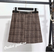 Fashion Plaid Woolen Skirt Female 2019 New High Waist Skirt A-Line Natural Plaid Casual Cotton