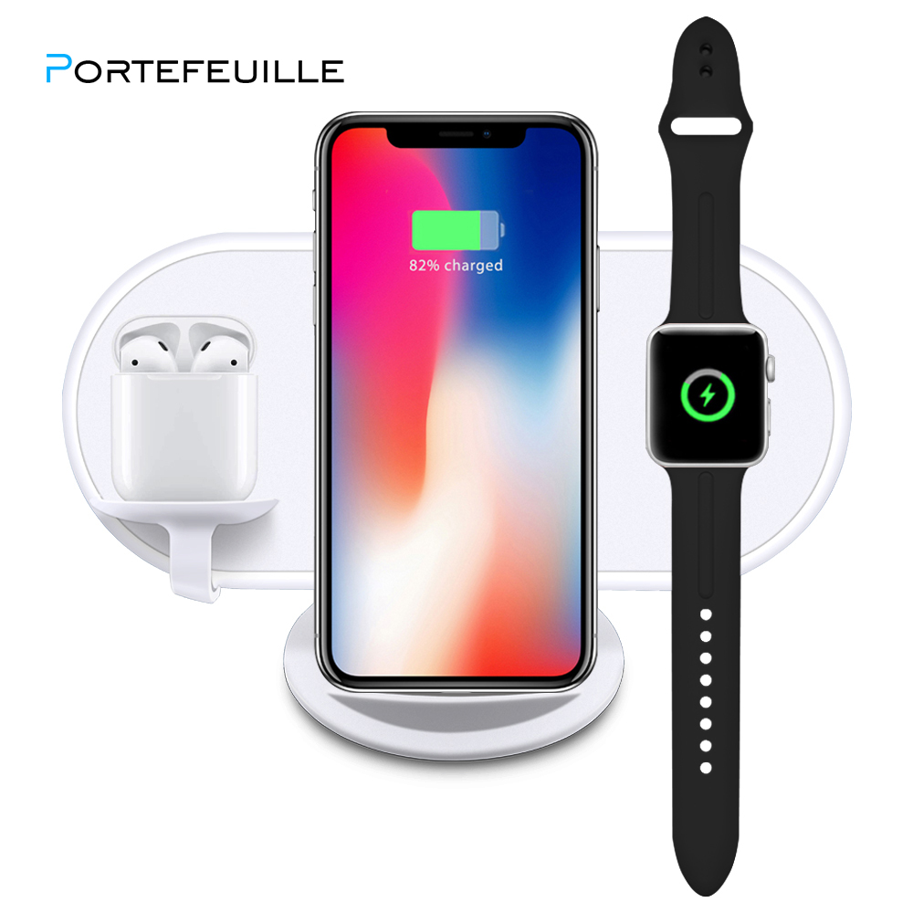 Portefeuille 3 in 1 10W 7.5W 5W 2.5W QI Wireless Fast Charger For iPhone X 8 Plus Samsung Apple Watch Charger Holder For Airpods
