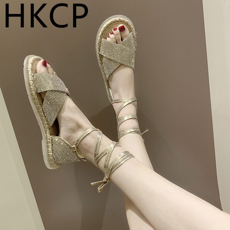 HKCP 2019 European women 39 s shoes new bright diamond shoes women 39 s cross gaiters chain toe sandals linen flat shoes C143 in Middle Heels from Shoes