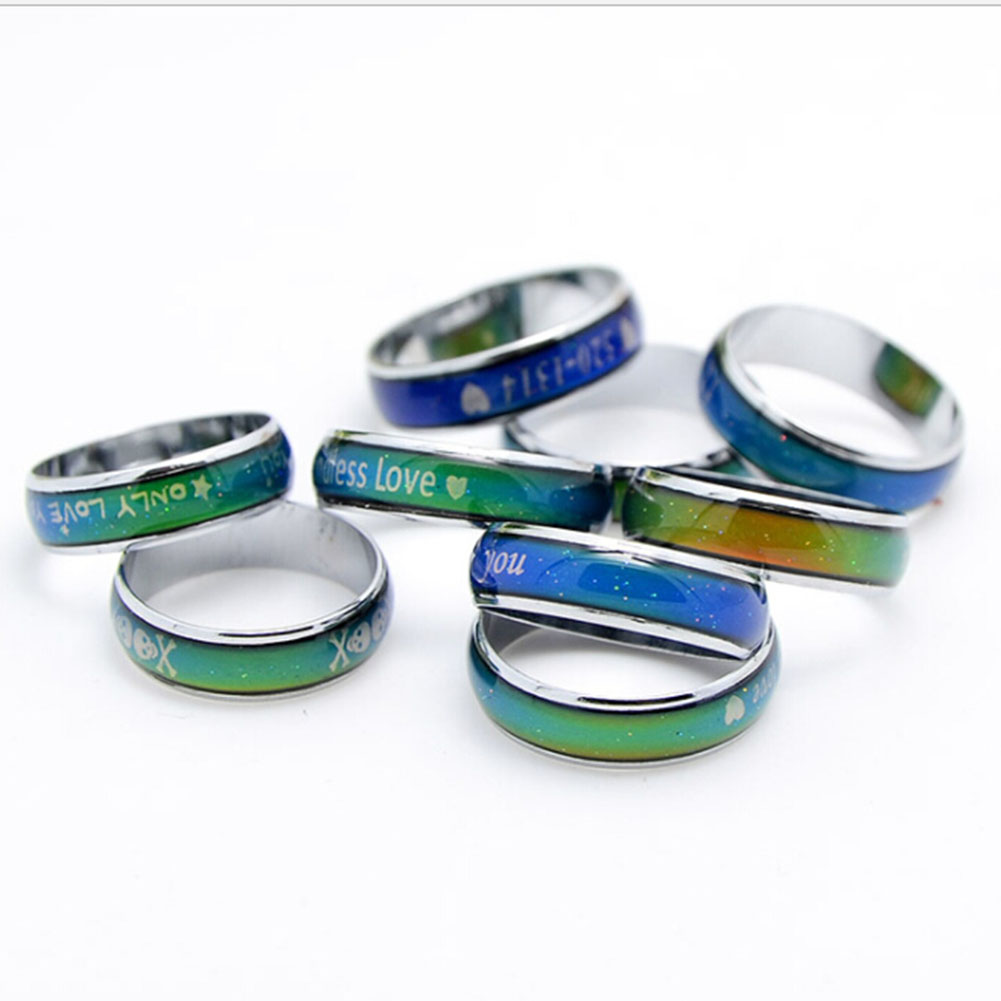 Womens/Mens Stainless Steel Rainbow Ring Colorful Wedding Band Engagement Rings Fashion Jewelry