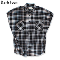 Black White Plaid Turn Down Collar Men S Shirt Unlocked Sleeveless 2018 Summer Side Zipper Shirt