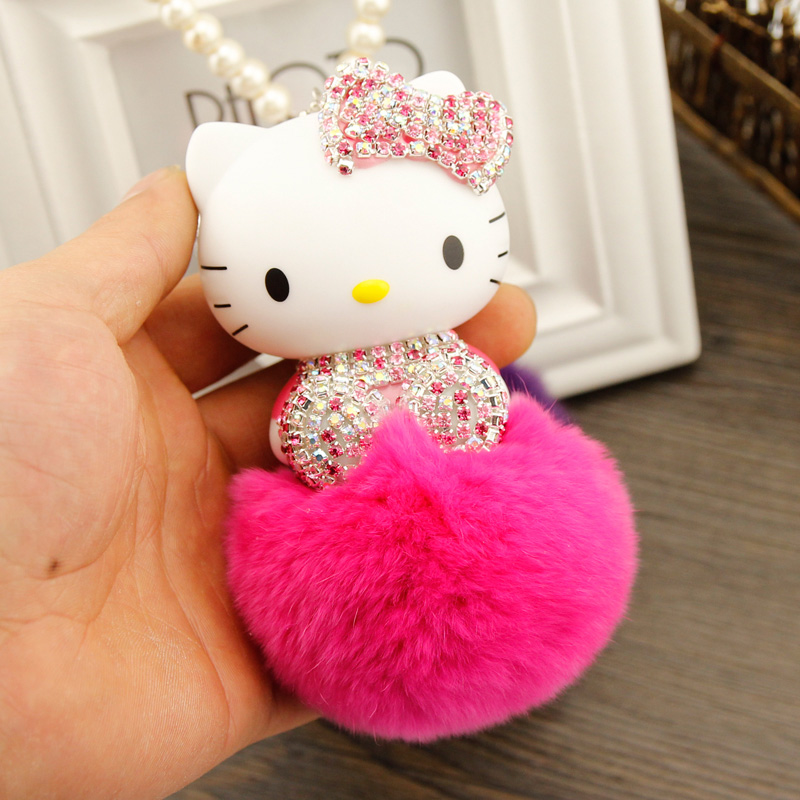 New Crystal Cute Hello Kitty Pearl Chain Car Hanging Pendant Ornament C