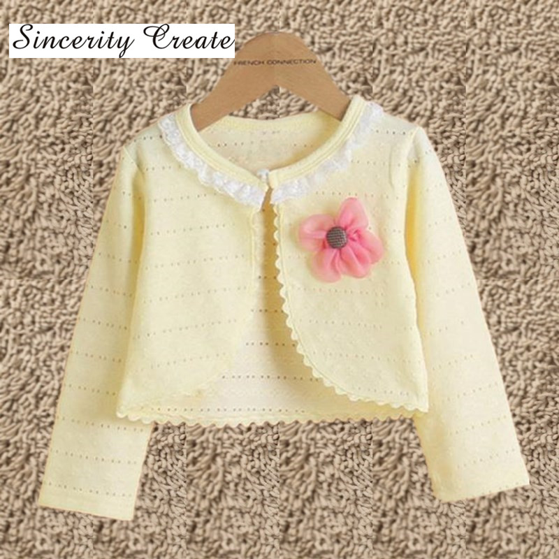 Hot Lace Collar With Flower Girls Sweaters Cardigan Cotton Polyester Thin Long Sleeve Girls Cardigan Children Clothing KC1507-2