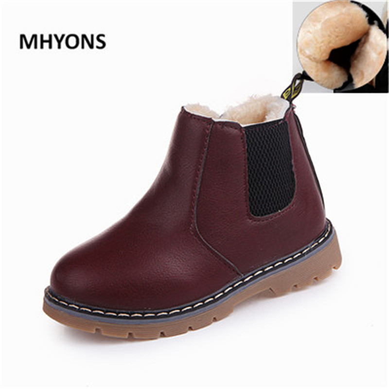 MHYONS 2018 Autumn Winter New Comfortable Retro Girls Boots Leather Martin Boys Boots Kids Boots England Children Shoes ZX 532