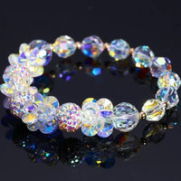 Crystal Bracelets For Women High Shinning Rhinestone Ball Beaded Charm Bracelets Gold Beads Wedding Jewelry Accessories Girls