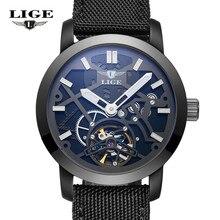 LIGE Люксовый Бренд Автоматические Механические Часы Мужчины Военная Водонепроницаемый Наручные Часы Холст Скелет Часы Relojes Hombre Часы Человек