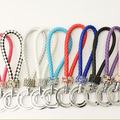 New pattern Diamond PU Leather rope key ring Round braided leather rope buckle Key bag ornaments