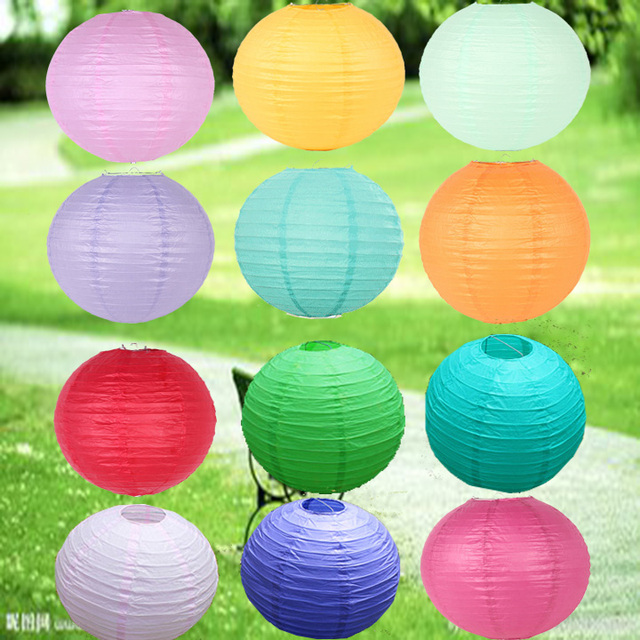 10 25cm Wholesale Multicolor Chinese Paper Lanterns For Wedding