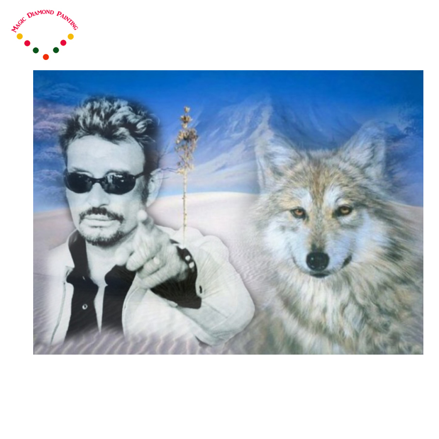 Superstar cantor johnny hallyday ponto cruz DIY pintura diamante rodada Strass bordado Neve Lobo pintura Cheia de diamantes