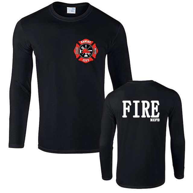 c74b7293b Fashion Kansas City Fire Department Missouri Firefighter Kcfd Design T Shirt  Men Cotton Long Sleeve T-shirt Cool Tee Harajuku