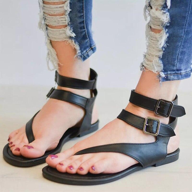 COSIDRAM Thong Sandals Summer Shoes Flat-Heels Female Fashion Ladies Solid SNE-023 Footwear