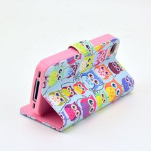 Cute Owl Family Style Flip Leather Case for iPhone 4s