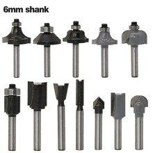12 adet/takım 6mm Shank Köşe Yuvarlama End Mill Yönlendirici Bit Setleri Ahşap freze kesiciler Setleri Giyotin Gravür Oyma Kesme aracı