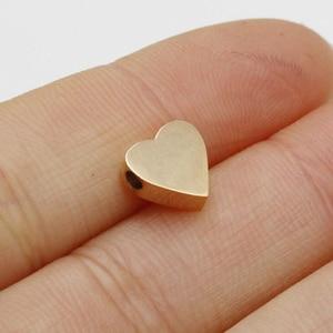 Image 5 - 20 adet/grup ayna cilalı küçük delik boncuk paslanmaz çelik Charm sevimli kalp şeklinde boncuk DIY aksesuarları