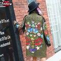 2017 new women spring street green camouflage flower printing trench novel long loose rivet fringe coat