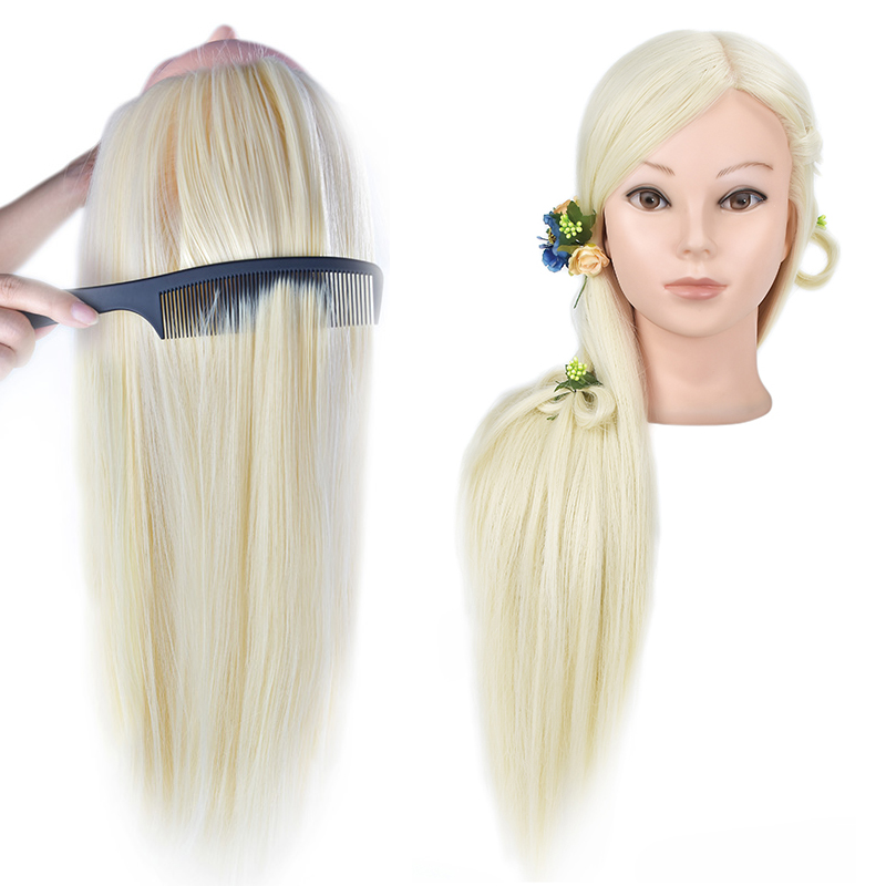 Female Mannequin Head With Hair Training Head Dolls With 65cm Blonde Hair Dummy Head For Display Showing