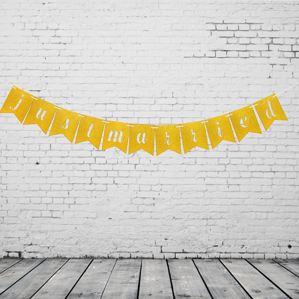 Wedding Decoration Hollow Just Married Wedding Banner Photo Props ...
