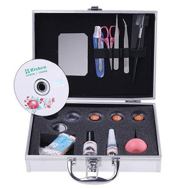 New Professional Eyelashes Extension Kit False EyeLash Lashes Makeup Set with Silver Box Case Salon Tool