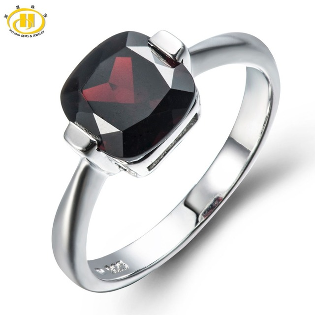 Hutang 3.1Ct Mystery Black Garnet Solid 925 Sterling Silver Ring Natural Gemstone Womens Fine Jewelry Birthstone