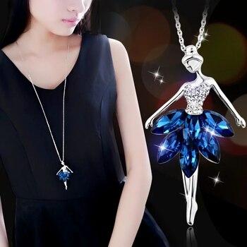 04d524230ef0 SINLEERY encanto azul Cubic Zircon falda baile Ángel colgante collar largo  para las mujeres Cadena de Color de plata My342