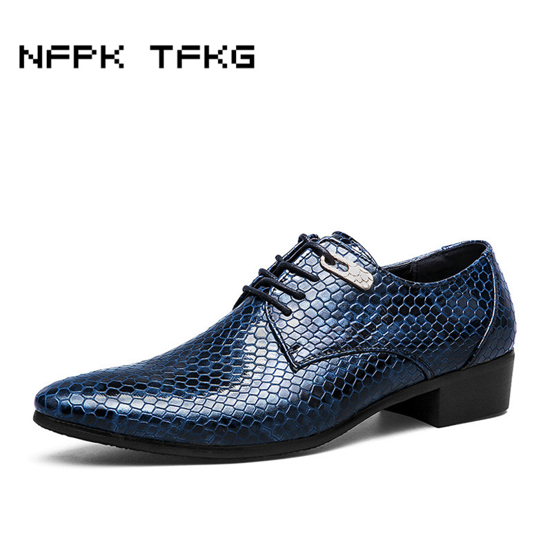 Big Size Men Leisure Wedding Nightclub Wear Cow Leather Shoes Snake Skin Pattern Point Toe Oxfords Derby Shoe Breathable Lace Up